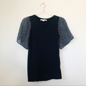 Loft Navy Blue T-shirt with floral short sleeves